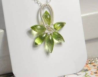 Grade AA Peridot gemstone slim flower pendant necklace, sterling silver necklace, genuine natural gemstone, August birthstone