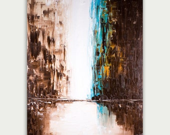 Original Abstract Art, Urban Modern Painting, Textured Painting, Home Decor, Oil On Canvas, City