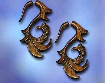 Fake Gauge Earrings Wood, BOHO Earrings, TribalStyle, Organic Earrings, Fake Gauge Earrings, Split, Faux Gauges, Wood Earrings, W02