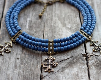 Folk Jewelry Woman Necklace-Traditional Ethnic Jewelry-Blue Beaded Necklace-With Cross-Ukrainian necklace-gift for her