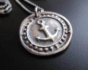 Fine Silver Anchor Pendant Necklace