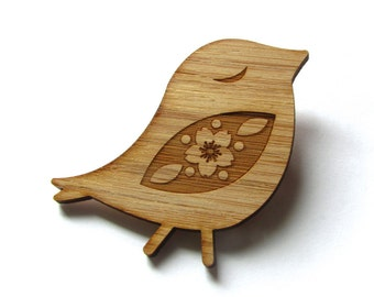 Happy Bird Pin. Bird Pin. Bird Brooch. Wood Brooch. Wood Pin. Bamboo Pin. Laser cut Pin. Gifts under 20. Gifts for her. Put a bird on it.
