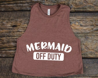 Mermaid Off Duty | Mermaid Tank | Racerback Cropped Tank | Beach Tank