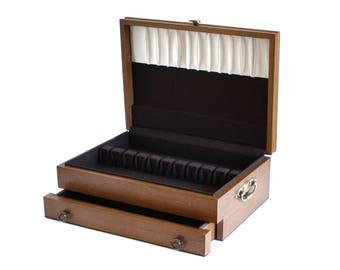 Wood Silverware Case with Drawer, Empty Flatware Storage Chest Wooden, Anti Tarnish Silvercloth, 1980s Kitchen