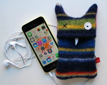 Navy Blue Multi-Stripey Monster iPhone or iPod Cozy