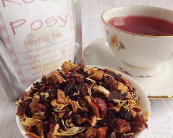 Rosy Posy Herbal Tea, Kids Herbal Tea, Herbal Tea, Loose Leaf Tea, Strawberry Lemon Herbal Tea, Caffeine Free Tea