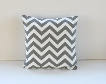 Gray Chevron Pillow Cover- Gray with White Chevron Decorative Couch Pillow 14x14- Ready to Ship