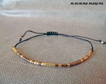 NEW Miyuki Delica Brown and gold adjustable Friendship Bracelet boho chic Bohemian Bohostyle minimalism