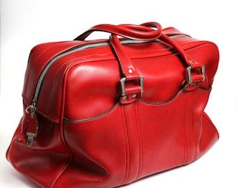 Vintage red leather bag, red leather suitcase, messenger bag, man tote travel bag, vintage luggage, retro suitcase, travel suitcase