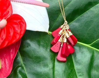 Long Red Coral drop Necklace