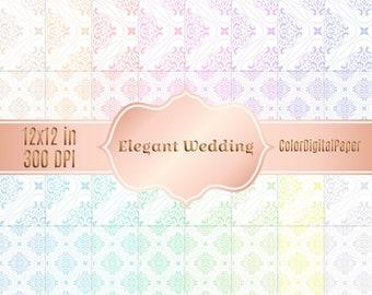 Elegant Wedding Damask Pastel Paper, Digital Paper, Commercial Use, Printable Scrapbook Paper, Instant Download, Printable Background Pack