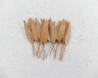 40 mulberry paper brown bamboo leaves (size 2)