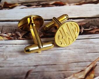 Engraved Gold CuffLinks,Groom Wedding Gift,Gold Men CuffLinks,Gift for Fathers Day,Elegant Monogrammed Cufflinks