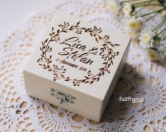 Caja del anillo de boda para ceremonia / caja del anillo de boda en Color blanco vestido de boda ceremonia grabada caja / personalizada caja de anillo de boda