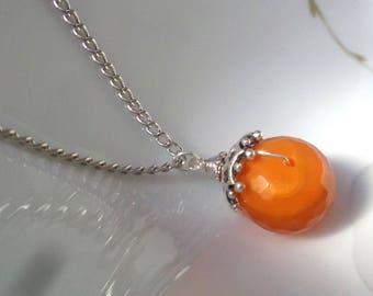 Carnelian Pendant Necklace, Carnelian Necklace, Faceted Carnelian Necklace, Orange Pendant, Gemstone Pendant, Stone Pendant
