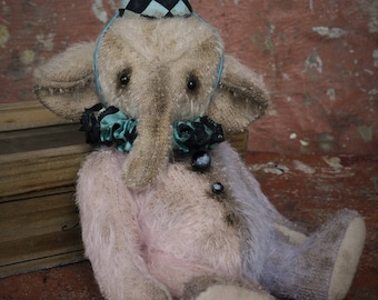 Artist Elephant Lawrence 6.5 inches OOAK NadyaBears Artist Teddy Bear Mohair Antique Teddy Bear