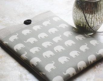 "Macbook Case,  Macbook Pro Case, Macbook Air Case, 13"" and 11"" Macbook Sleeve, Laptop Case, Computer Case, Laptop Sleeve in Linen Elephant"