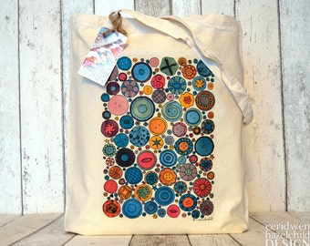 Buttons Tote Bag, Ethically Produced Reusable Shopper Bag, Cotton Tote, Shopping Bag, Eco Tote Bag, Stocking Filler, Crafter Gift