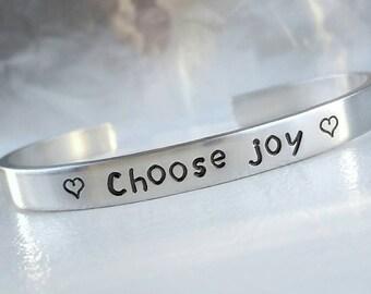 Choose Joy Bracelet, Cuff Bracelet, Happiness Quote, Be Happy, Stamped Bracelet, Motivational Bracelet, Hand Stamped, Handstamped Bracelet