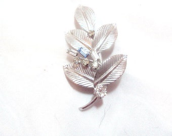 Sterling Silver Carl Art Leaf Pin with Rhinestones
