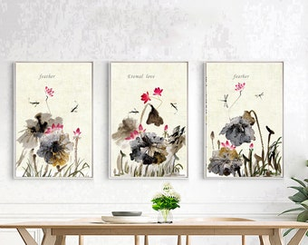 Lotus watercolor painting  Landscape painting with Chinese characteristics.