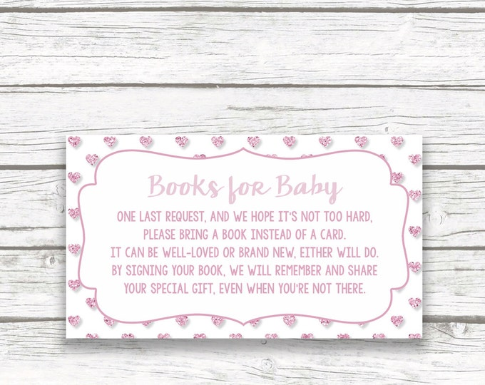 Bring a Book Instead of a Card Baby Shower Insert, Stock Baby's Library, Pink Glitter Hearts, Printable Girl Shower Invitation Insert