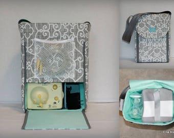 Half size Alana style Breast Pump Bag in PP Ramey Lt Gray print