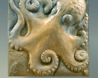 Octopus Art, Nature, Sculpture, Wall Tile, Ocean , Beach, Wall Sculpture, Wall Art, Handmade, Art Tile, Garden Art, Unique, Collectible