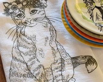 Tea Towel - Screen Printed Tea Towel - Flour Sack Towel - Kitchen Towels - Cat - Kitty - Floral - Dish Towels - Tea Towels Flour Sack - Gift