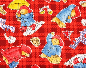 "Paddington Bear Character Fabric made in Japan, FQ 45cm by 53cm or 18"" by 21"""