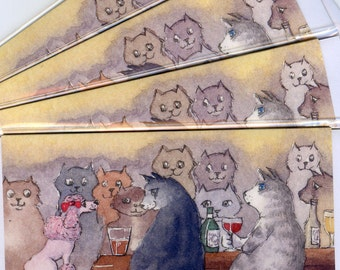 4 x Cats and pink poodle greeting cards