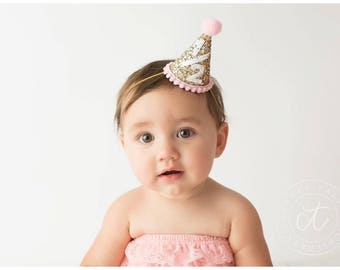 Baby Girl Party Hat || Half Birthday Party Hat || 1/2 Birthday Party Hat || Cake Smash || 1st Birthday Party Hat || Add Any Number