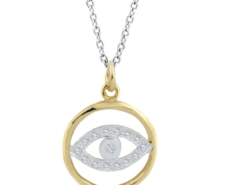 Evil Eye Silver Pendant With Cubic Zirconia's