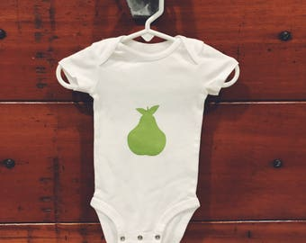 Hand painted PEAR onesie 3mo