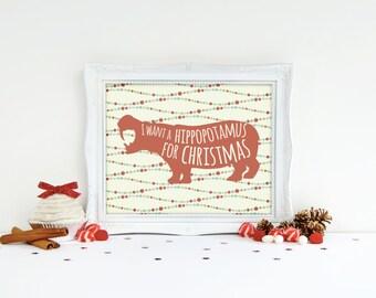 Christmas Printable - Hippo Print - Hippopotamus Art - Christmas Artwork - Christmas Prints - Hippo Art - Christmas Art Prints