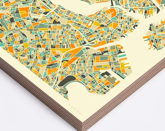 BOSTON MAP (Ready to Hang, Birch Wood Print for your Home Décor) ivory version