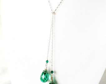 """Vintage Emerald Green Crystal Lariat Necklace, """"OOAK"""" Vintage Crystal Lariat, Green, Long, Eco Friendly, Fair Trade, Ethical, Vegan Friendly"""