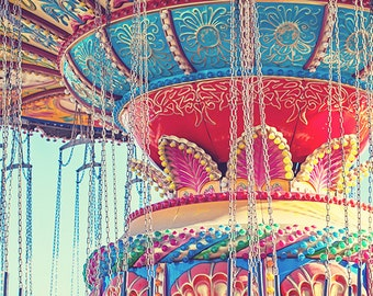 Rainbow Color Carnival Ride Photograph, Classic Colorful Seaswings Ride, Beach Photo Print, Bright Retro Nursery Decor - Rainbow Swings