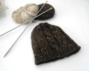 Alpaca wool knit hat, Knit beanie chocholate brown melange, handknit slouchy beanie, handknitted hat with cable stitch by cosediisa