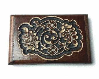 Card holders, hand carved card holder made from walnut tree.