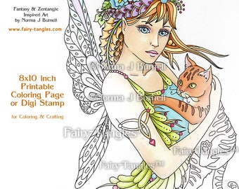 Reney and Tommy Fairy Tangles Printable Coloring book Sheets & Pages by Norma J Burnell Adult Coloring for Grownups Digital Coloring files