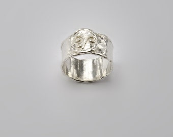 Coin Ring, Sterling Silver Ring, Hammered Ring