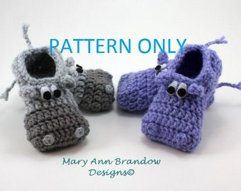 Hippo Baby Booties PDF Crochet Pattern,4 sizes,0-12mo,DIY,Hippo,Pattern,baby, crochet pattern,pdf,baby bootie pattern,baby booties,