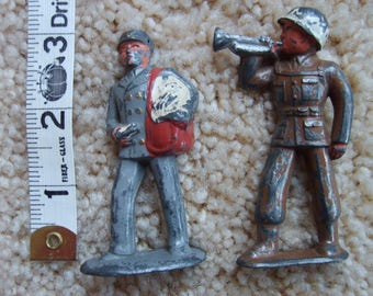 Vintage Metal Toy Soldiers, Old Toy Soldiers, WWII, Bugler and Mailman