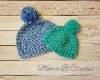 Crochet Beanie, Pom Pom Beanie, Newborn Beanie, Baby Beanie, Child Beanie