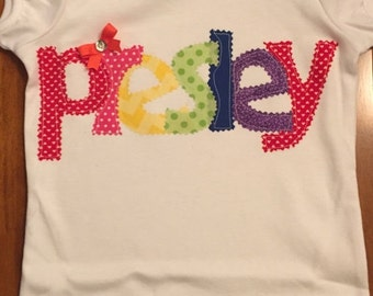 Rainbow Fabric Letter Applique Name Baby Bodysuit or Shirt
