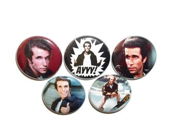 "Happy Days Fonzie  1"" button set of 5 one inch pin back badges 70s classic tv comedy show  gift for Mom Dad girlfriend boyfriend"