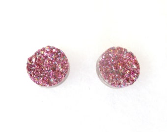 Magenta Faux Druzy 12 mm Earrings / Druzy Earrings / Pink Druzy Earrings / Glitter Earrings / Pink Earrings / Drusy / Pink Drusy Earrings