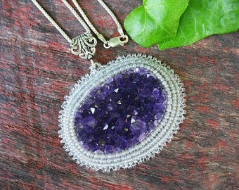 Embroidered Amethyst crystal cluster pendant necklace with sterling chain, bead embroidery amethyst pendant,