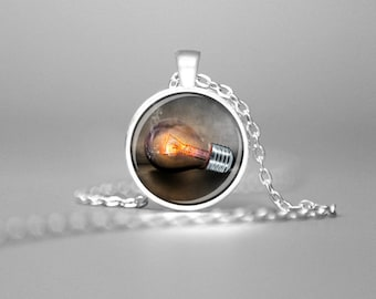 LIGHT BULB PENDANT Light Bulb Necklace Light Bulb Charm Necklace Light Bulb Jewelry Light Bulb Art Creativity Necklace Creativity Pendant